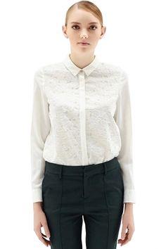 2015 Valentine Sale Fashion White Button Down Lace Overlay Chiffon Shirt FREE SHIPPING WORLDWIDE