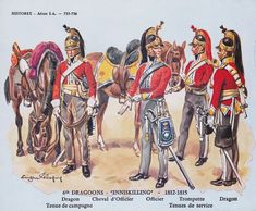 The Inniskilling Dragoons at Waterloo, part of the Union Brigade, made up of regiments from Scotland, England, and Ireland.