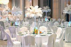 dekoracja białe strusie pióra