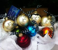 Charlie Brown, Peanuts Gang, Inspired Christmas Ornament Set, Personalized Gift, Lucy, Linus, Peppermint Patty