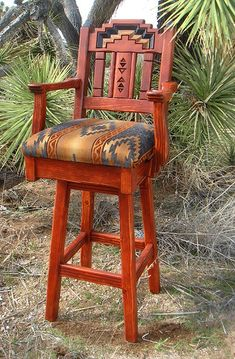 Western Southwestern Bar Counter Stools-Love the material for seat! Southwestern Wall Decor, Southwest Home Decor, Southwestern Home, Southwestern Decorating, Southwest Style, Western Furniture, Rustic Furniture, Nice Furniture, Cabin Furniture