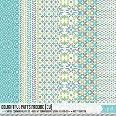Designer Scrapbook Paper - Free Printable for commercial use! Green, torquoise, and grey