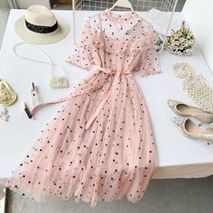 Lucuna Sheer Short-Sleeve Midi A-line Dress Cute Dresses For Teens, Elegant Summer Dresses, Stylish Dresses, Casual Dresses, Short Dresses, Teen Dresses, Teen Fashion Outfits, Cute Fashion, Fashion Dresses