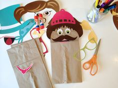 The paper bag puppets are a great way to keep little ones entertained, and come with free printable pieces - the combinations are endless!
