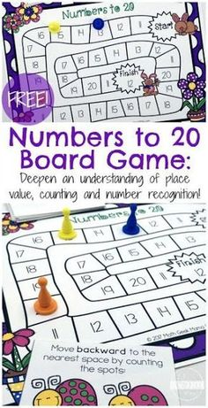 FREE Spring Numbers to 20 Board Game FREE Spring Counting Game to help Kindergarten age kids practice numbers 1 20 (math games, math centers, homeschool) Homework Games, Math Board Games, Math Boards, Fun Math Games, Kids Counting Games, Counting To 20, Printable Board Games, Number Activities, Spring Activities