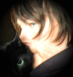 """NORMAN & HIS CAT,  """"EYE IN THE DARK""""  I LOVE THE SOFTNESS OF THE PICTURE & THE LOVE BETWEEN THEM"""