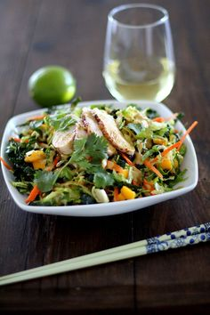Thai Chicken Chopped Kale Salad with Mango and Peanut Dressing @roastedroot