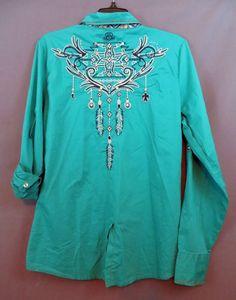 ROAR TEAL FEATHER Stretch Western Shirt  Embroidery Gypsy Cowgirl bling  XL  NWT #Roar #ButtonDownShirt