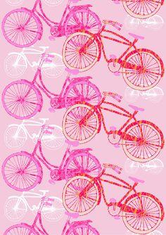 Fillari, pink by Tanja Orsjoki Finland Finland, Terrace, Porch, Bike, Curtains, Patterns, Illustration, Pictures, Design