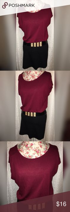NWOT RUE 21 MAROON&BLACK DRESS W/GOLD BELT💗 This beautiful Rue 21 dress is maroon on the top and is it gathered top with a bottom that you can stench up or down it is a size medium in excellent condition 21 inches across the chest 32 inches from the shoulders! Perfect color for the holiday season comes with gold rhinestone belt!🎁🎁 Rue 21 Dresses Mini