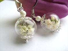Real Flower Earrings Baby's Breath Flowers by SeaMeadowDesigns, €15.00