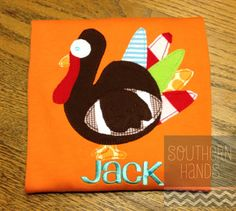 Football Turkey Thanksgiving Applique Tshirt with Name on Etsy, $25.00