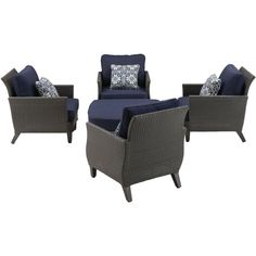Hanover Savannah 5-Piece All-Weather Wicker Patio Chat Set with Navy Blue Cushions