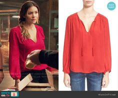 Paige's red blouse on Scorpion.  Outfit Details: https://wornontv.net/65531/ #Scorpion