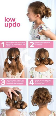 Kids will love them! #easyhairstyles Short Curly Hairstyles For Women, Easy Little Girl Hairstyles, Girls School Hairstyles, Fast Hairstyles, Flower Girl Hairstyles, Girl Short Hair, Braided Hairstyles, Updo Hairstyle, Hairstyle Ideas