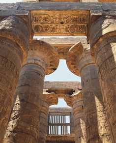 Low angle view of columns of temple of Amun-Ra, Karnak.
