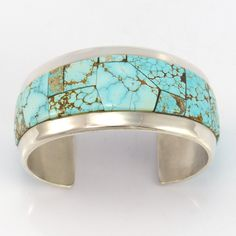 Sterling Silver Cuff Bracelet with Mosaic Inlaid Natural Number Eight Turquoise…