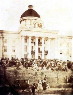 Jefferson Davis's inauguration as Confederate president at the Alabama state capitol, Feb. 18, 1861.