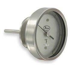 Bimetal Thermom, 5 In Dial, 0 to 250F by Dwyer Instruments. $306.45. Sanitary. Sanitary Dial Thermometer, Bimetal, Dial Size 5 In., Connection Size 2 In. Sanitary, Connection Location Bottom, Stem Length 2-1/2 In., Temp. Range (F) 0 Degrees to 250 Degrees Accuracy +/-1 Percent, Stem Dia. 1/4 In.Case Hermetically Sealed, Case Material Stainless Steel, Stem Material Stainless Steel, Window Material GlassManufacturers Warranty Length 1 yr. Sanitary Bimetal Thermome...