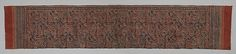 Textile with a Forested Landscape Date: late 14th–early 15th century Culture: India (Gujarat), for the Indonesian market Medium: Cotton, painted resist and block-printed mordant, dyed Dimensions: H (weft) 98.7 cm (38 7/8 in.) x W (warp) 494.5 cm (194 11/16 in.) Classification: Textiles-Painted Credit Line: Purchase, Friends of Asian Art Gifts, 2005 Accession Number: 2005.407