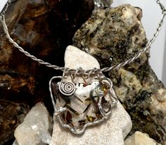 Sterling pendant framing a irregularly shaped by BerlyDesigns, $49.00