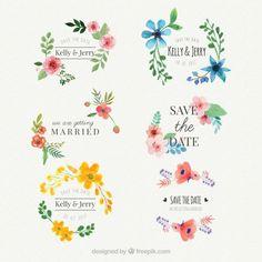 Conjunto de adesivos de casamento de aguarela floral Vetor grátis