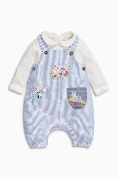 Buy Blue/Ecru Dungarees and Bodysuit Set (0mths-2yrs) online today at Next…