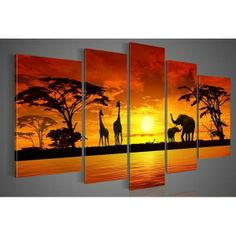 Nothing more looks wonderful than a beautiful #painting of a #sunset with wild life. If you are an #animal lover or ever wished to be in #Africa, this is a wonderful 5 panel painting that will not just look amazing on your wall but also give you that soothing feeling that you are near to mother nature. Order now!  #Giraffe #Elephant #Trees #Sun #Art