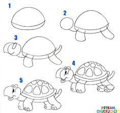 Learn to draw your kids with these ideas - Step by step - Kids Art & Craft Drawing Tutorials For Kids, Art Drawings For Kids, Drawing For Kids, Cartoon Drawings, Animal Drawings, Easy Drawings, Drawing Sketches, Art For Kids, Drawing Animals