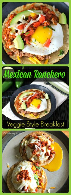 Mexican Ranchero Breakfast Veggie Style is yummy eggs served on hot corn tortillas, topped with creamy refried beans and smothered in a soy chorizo salsa