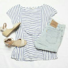 """LOFT Blue Striped Short Sleeve Blouse 100% Cotton This 100% cotton LOFT blouse nice and light, perfect for the warmer weather ! It is 100% cotton and thin, best worn with a nude bra or a cami underneath ! About 24.5"""" in length, about 20"""" from armpit to armpit. Wonderful preloved condition. LOFT Tops Blouses"""