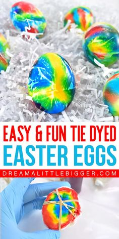 A special super saturated DIY egg dye using food colors is the key to these gorgeous DIY tie dye Easter eggs. They\'re so much fun to make and no 2 are alike!