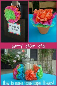 to Make Mexican Tissue Paper Flowers How to Make Tissue Paper Flowers - Great for a Summer Deck Party:)How to Make Tissue Paper Flowers - Great for a Summer Deck Party:) Mexican Fiesta Party, Fiesta Theme Party, Festa Party, Luau Party, Party Themes, Party Ideas, Theme Ideas, Decor Ideas, Gift Ideas