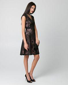 Embroidered Mesh V-Neck Cocktail Dress