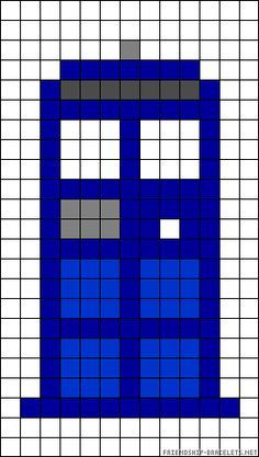 Doctor Who TARDIS perler bead pattern but could probably be done in crochet granny squares