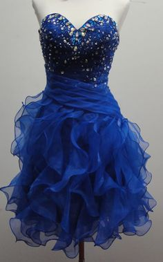 Beautiful Blue Ball Gown Rhinestone