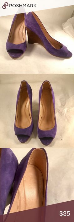 Suede Jcrew Wedges Incredible purple suede open toed jcrew Wedges. I only wore them a handful of times and they're super comfy and easy to walk in! I fell in love with the color is a vibrant purple that makes any outfit stand out! Obsessed with these shoes. J. Crew Shoes Wedges