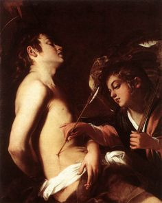 """oldroze: """" Giovanni BAGLIONE (Italian painter, Roman school """" St Sebastian Healed by an Angel c. 1603 Oil on canvas, x cm Private collection """" """" Baroque Painting, Baroque Art, Classic Paintings, Old Paintings, Contemporary Paintings, Renaissance Paintings, Renaissance Art, Caravaggio, St Sebastian"""