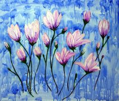 "Flowers on Blue "" Acrylic on Canvas' [painting]"