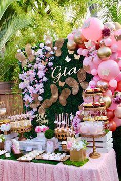 Baby Girl Birthday Theme, Baby Girl Shower Themes, Girl Baby Shower Decorations, Baby Shower Parties, Birthday Decorations, Butterfly Party Decorations, Shower Baby, Princess Birthday, Balloon Decorations