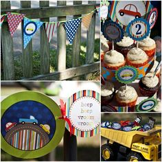 Beep Beep Car and Truck Birthday Party Package...DIY...Personalized printables and invitation...by DimplePrints