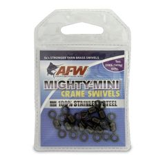 http://thefirstsergeant.com/pinnable-post/american-fishing-wire-mighty-mini-crane-swivels-100-percent-stainless-steel/ Mighty-Mini Swivels and Snap Swivels are 100% stainless steel and are 3 x's stronger than conventional brass swivels of the same size.  Smart anglers know that terminal tackle can spook wary game fish. That's why AFW engineered this line of compact, 100% stainless steel crane swivels to be smaller and stronger than the leadin...