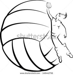Volleyball Player with Volleyball Background - stock vector