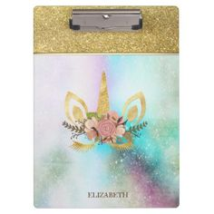 Shop Cool Trendy Gold Glitter Unicorn Face-Personalized Clipboard created by Biglibigli. Glitter Hair Spray, Gold Glitter, Glitter Unicorn, Light Up Unicorn, Unicorn Face, Clipboard, School Supplies, Office Supplies, Floral Flowers