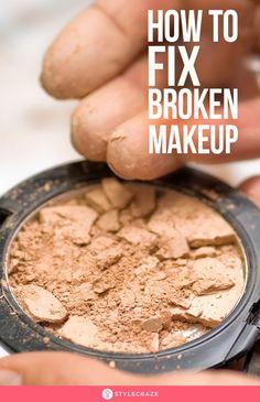 How To Fix Broken Makeup The sight of broken makeup is just plain sad. Imagine your favorite bronzer cracking into a zillion pieces after you drop it on the floor. Fix Broken Eyeshadow, Fix Broken Makeup, Fix Makeup, Makeup Tips, Makeup Hacks, Easy Eyeshadow, Drugstore Makeup, Makeup Products, Makeup Ideas
