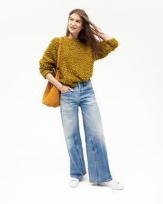 Madewell's Fall sweaters, wide-leg jeans, and sneakers.