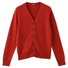 Women Knitwear Wool Alpaca Mix V Neck Cardigan