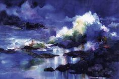 """Moonlight Dark Night""    Watercolor On Paper + Digital Painting"