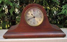 Antique Ansonia Clock Co. Wood Wind Up Mantel Clock Working
