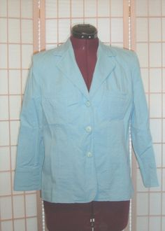 Rafaella Sz 8 Light Blue Cotton Stretch Jacket Lined #Rafaella #BasicJacket